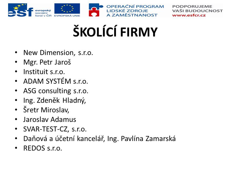 ŠKOLÍCÍ FIRMY New Dimension, s.r.o. Mgr. Petr Jaroš Instituit s.r.o.