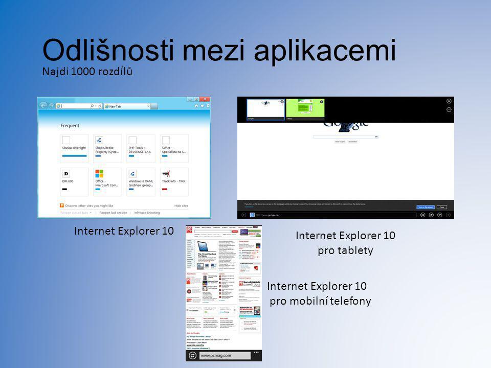 Odlišnosti mezi aplikacemi