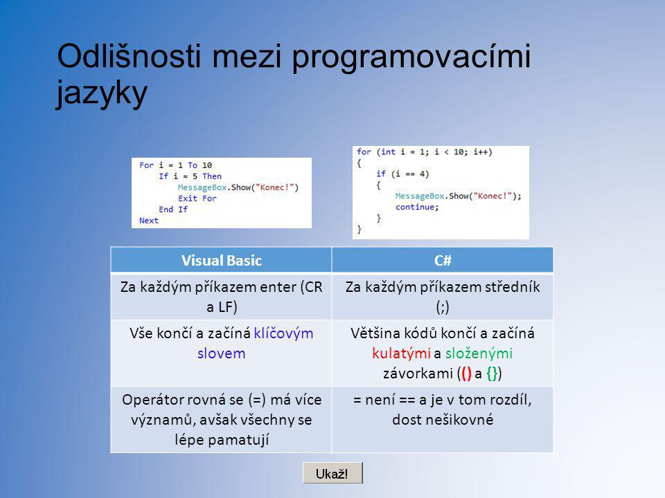 Odlišnosti mezi programovacími jazyky