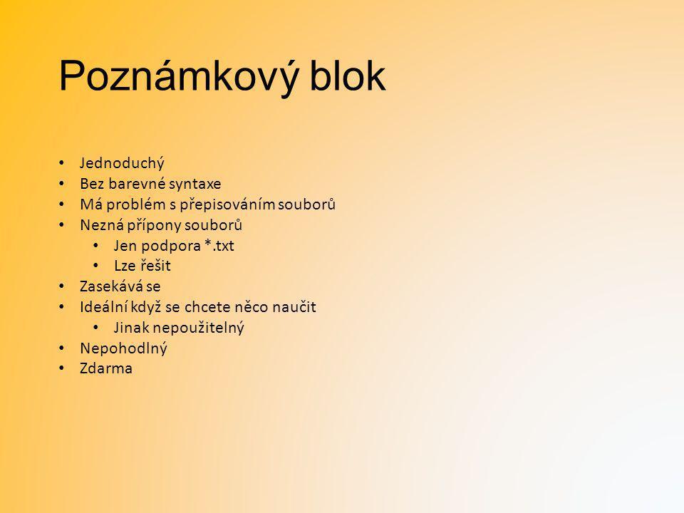 Poznámkový blok Jednoduchý Bez barevné syntaxe