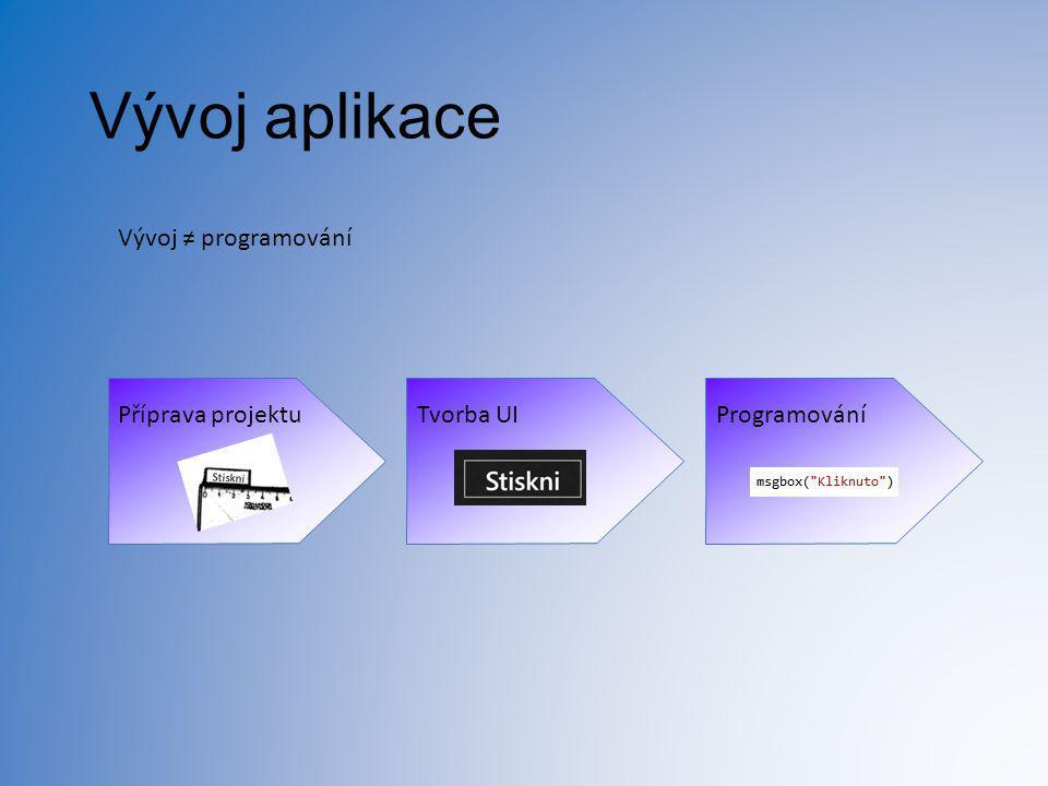 Vývoj aplikace Vývoj ≠ programování Příprava projektu Tvorba UI