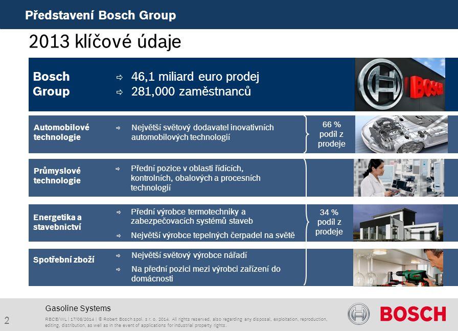2013 klíčové údaje Představení Bosch Group Bosch Group