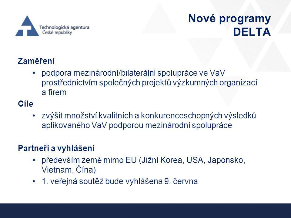 Nové programy DELTA Zaměření