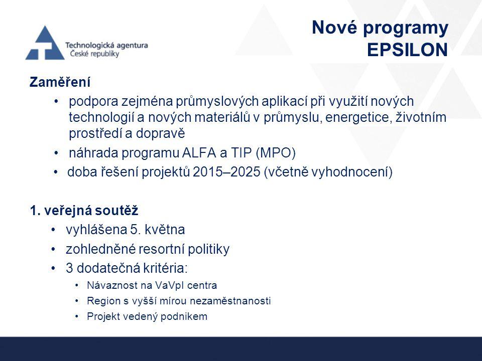 Nové programy EPSILON Zaměření