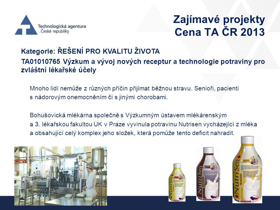 Zajímavé projekty Cena TA ČR 2013
