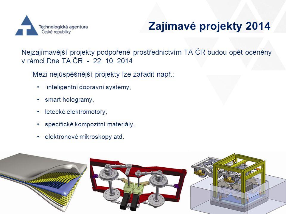 Zajímavé projekty 2014 Nejzajímavější projekty podpořené prostřednictvím TA ČR budou opět oceněny v rámci Dne TA ČR - 22. 10. 2014.
