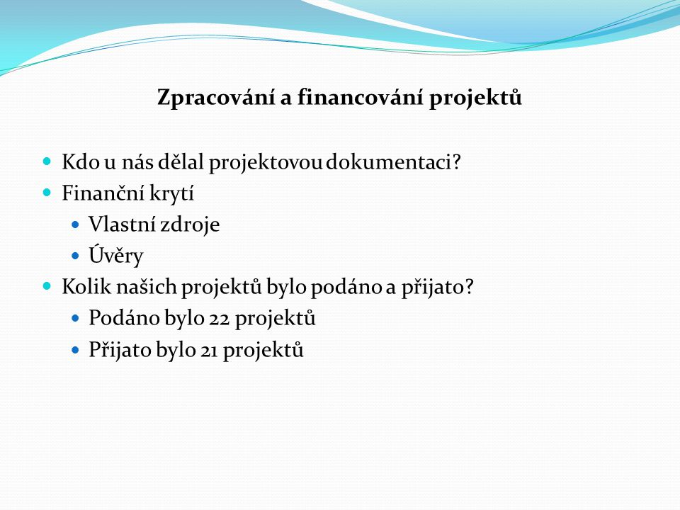 Zpracování a financování projektů