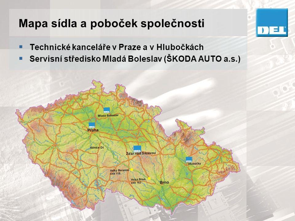Mapa sídla a poboček společnosti