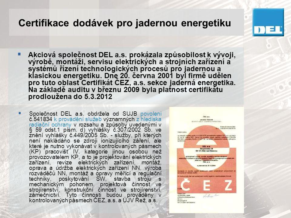 Certifikace dodávek pro jadernou energetiku