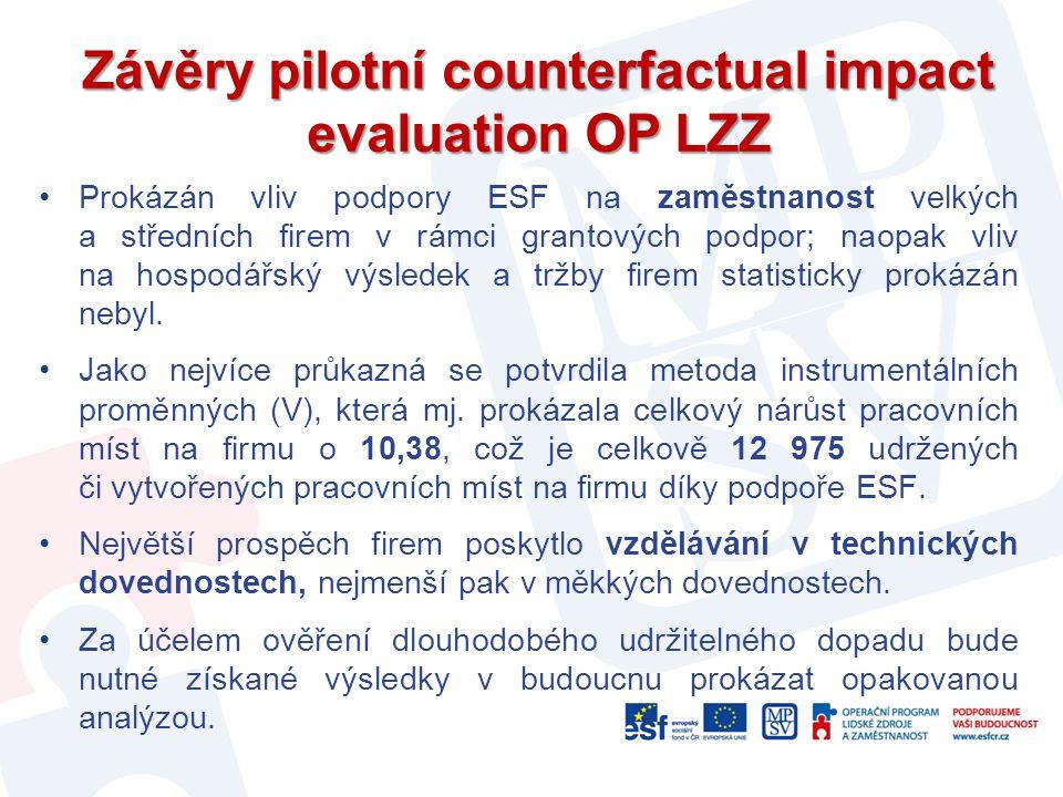 Závěry pilotní counterfactual impact evaluation OP LZZ