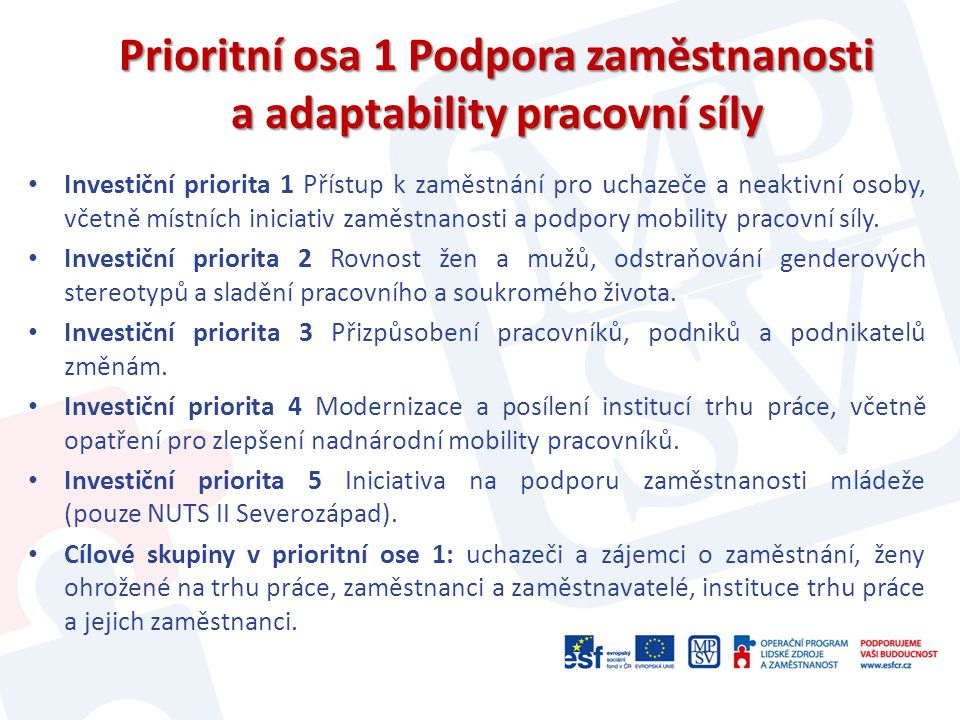 Prioritní osa 1 Podpora zaměstnanosti a adaptability pracovní síly