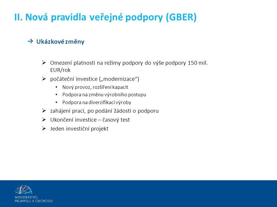 II. Nová pravidla veřejné podpory (GBER)