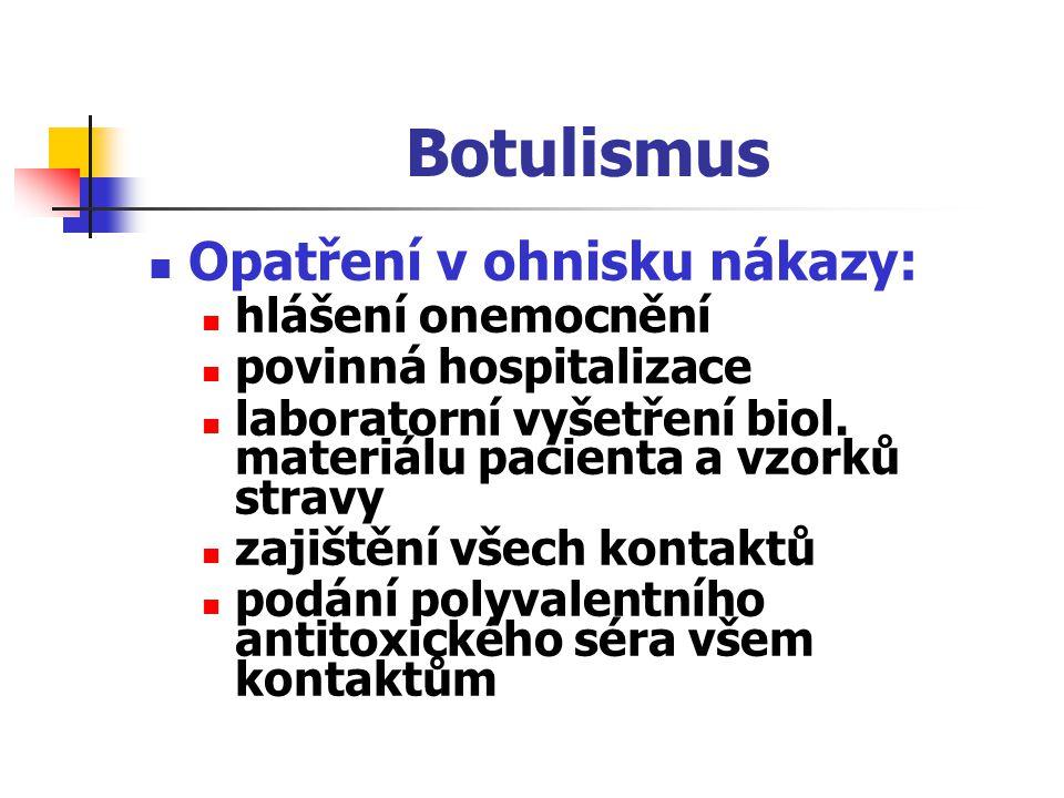 Botulismus Opatření v ohnisku nákazy: hlášení onemocnění