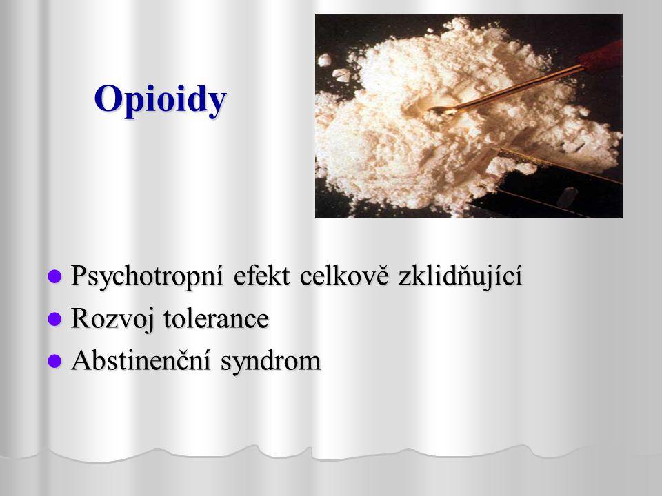 Opioidy Psychotropní efekt celkově zklidňující Rozvoj tolerance