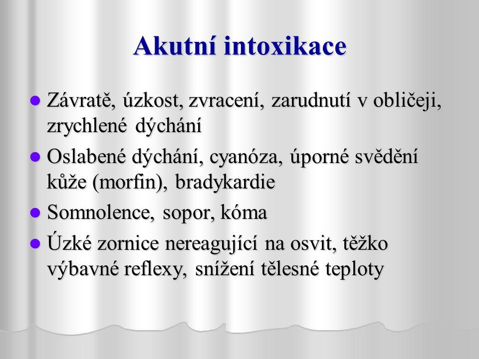 Akutní intoxikace Závratě, úzkost, zvracení, zarudnutí v obličeji, zrychlené dýchání.