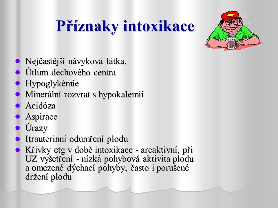 Příznaky intoxikace Nejčastější návyková látka. Útlum dechového centra