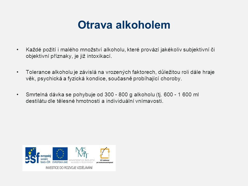 Otrava alkoholem Každé požití i malého množství alkoholu, které provází jakékoliv subjektivní či objektivní příznaky, je již intoxikací.