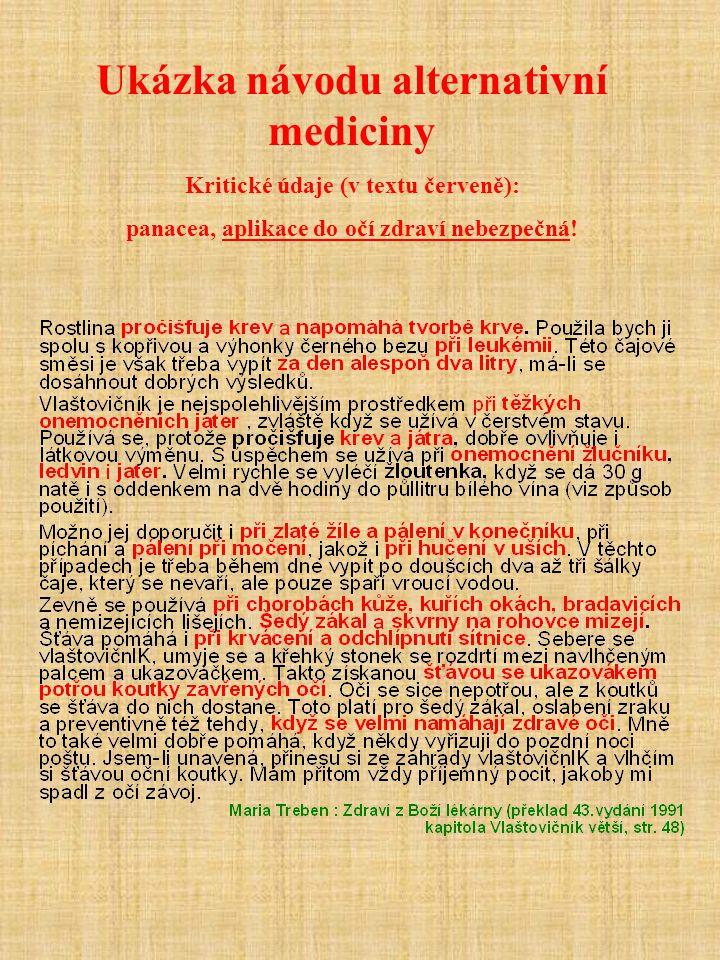 Ukázka návodu alternativní mediciny