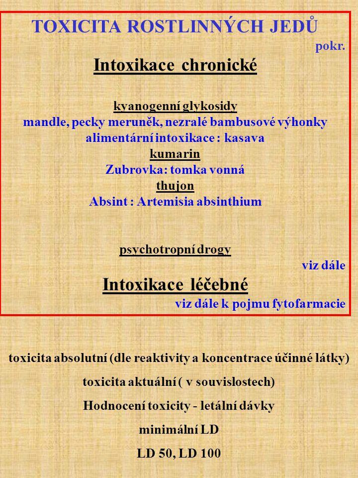 TOXICITA ROSTLINNÝCH JEDŮ Intoxikace chronické Intoxikace léčebné