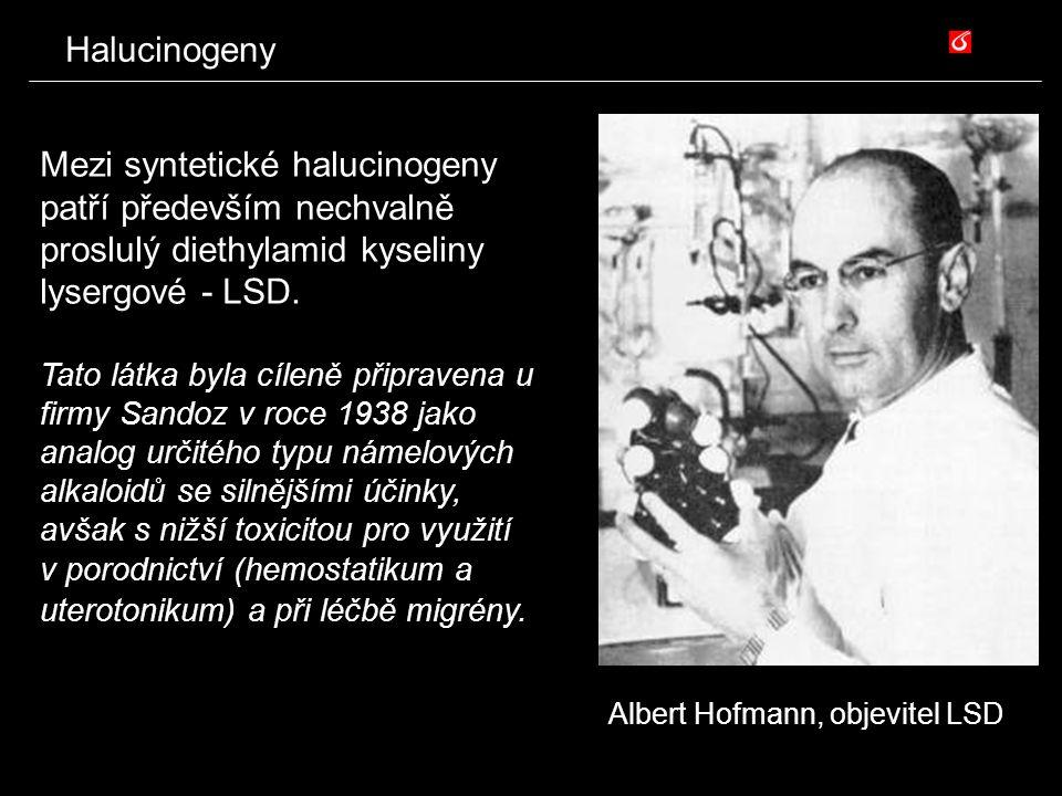 Halucinogeny Mezi syntetické halucinogeny patří především nechvalně proslulý diethylamid kyseliny lysergové - LSD.
