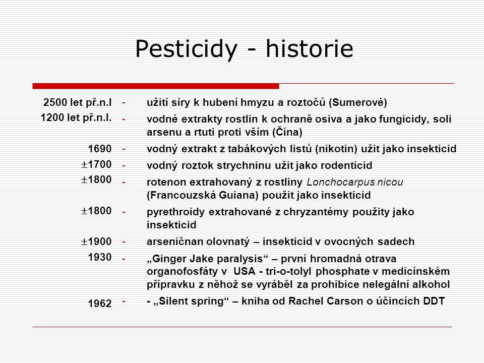 Pesticidy - historie 2500 let př.n.l 1200 let př.n.l. 1690 1700 1800