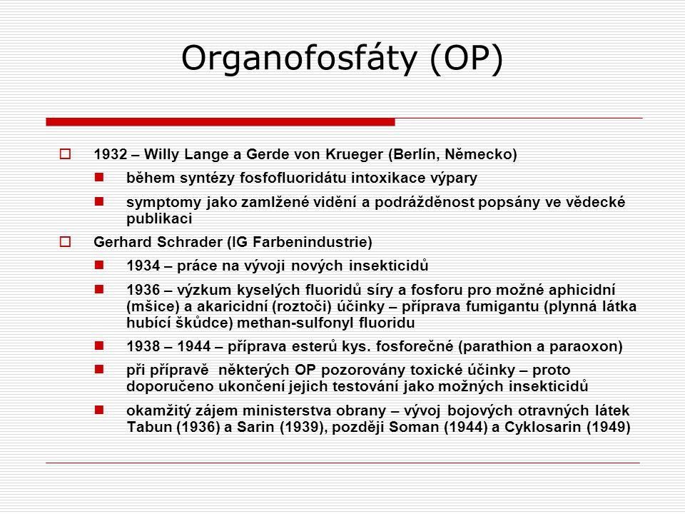 Organofosfáty (OP) 1932 – Willy Lange a Gerde von Krueger (Berlín, Německo) během syntézy fosfofluoridátu intoxikace výpary.