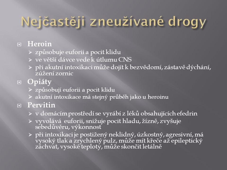 Nejčastěji zneužívané drogy