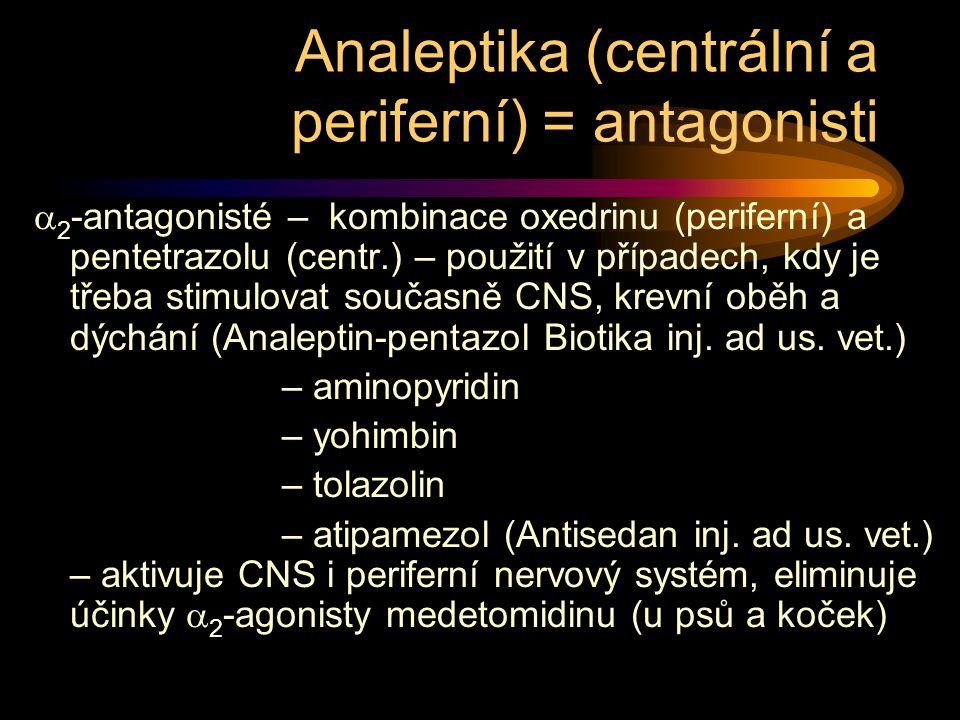Analeptika (centrální a periferní) = antagonisti