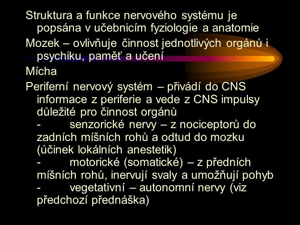 Struktura a funkce nervového systému je popsána v učebnicím fyziologie a anatomie