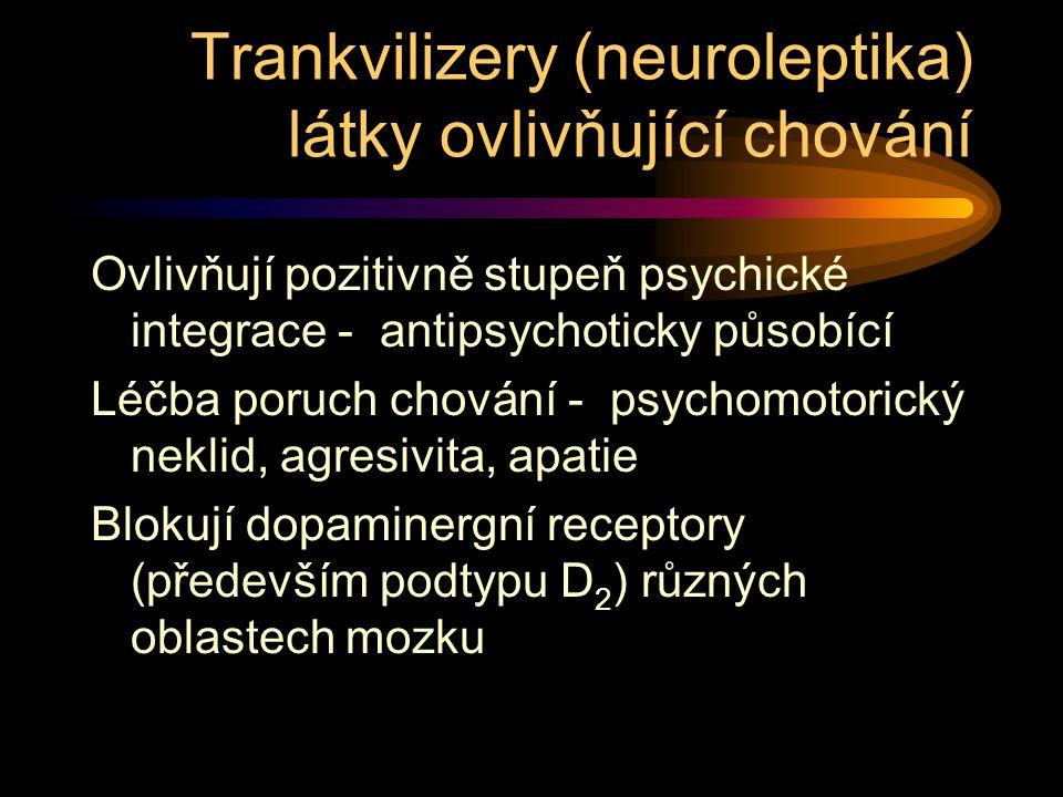 Trankvilizery (neuroleptika) látky ovlivňující chování