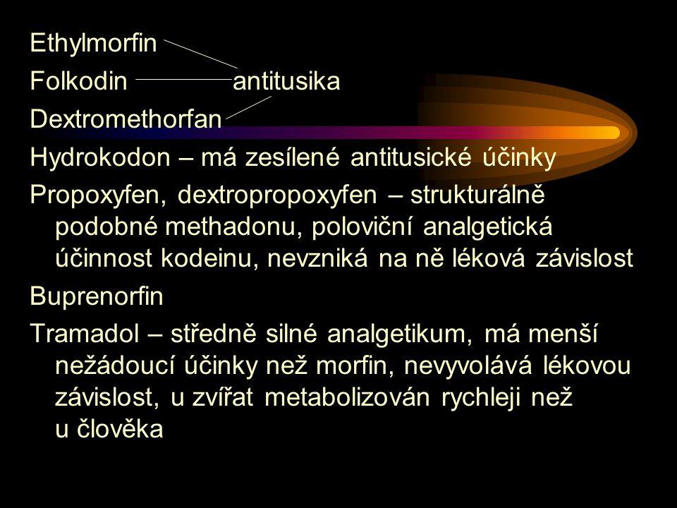 Ethylmorfin Folkodin antitusika. Dextromethorfan. Hydrokodon – má zesílené antitusické účinky.