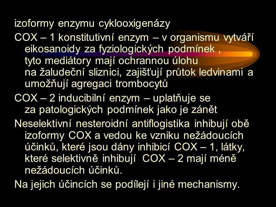 izoformy enzymu cyklooxigenázy