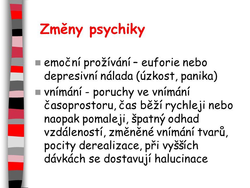 Změny psychiky emoční prožívání – euforie nebo depresivní nálada (úzkost, panika)