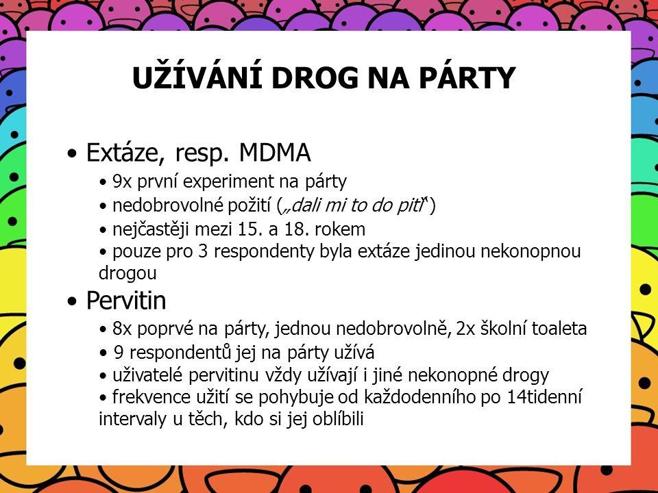 UŽÍVÁNÍ DROG NA PÁRTY Extáze, resp. MDMA Pervitin