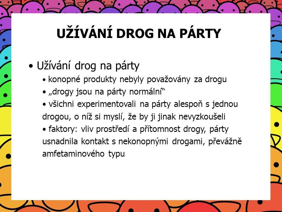 UŽÍVÁNÍ DROG NA PÁRTY Užívání drog na párty