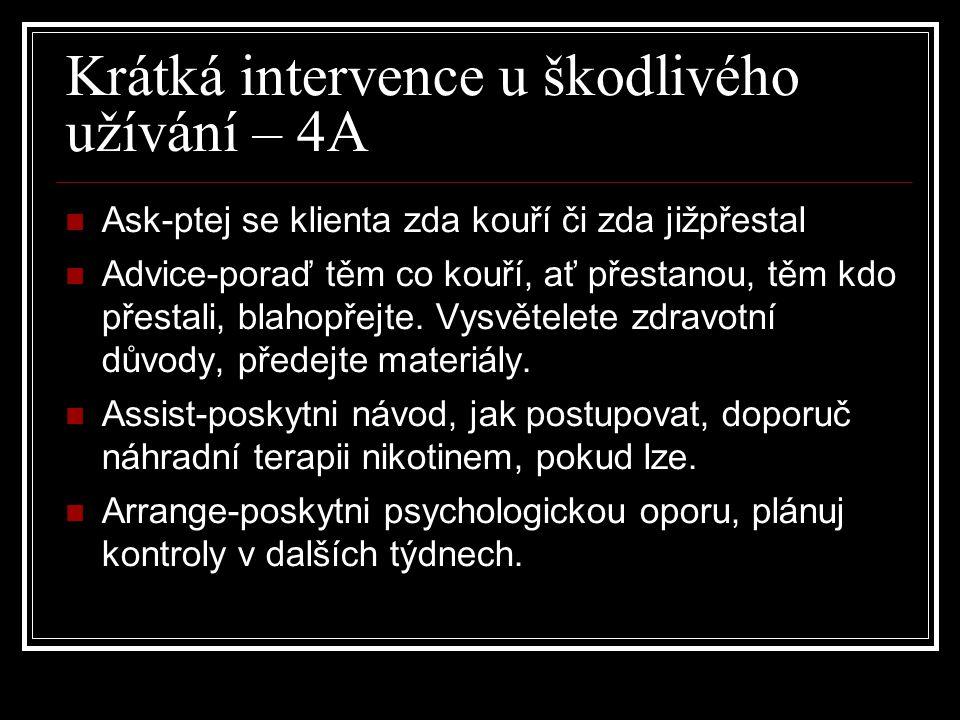 Krátká intervence u škodlivého užívání – 4A