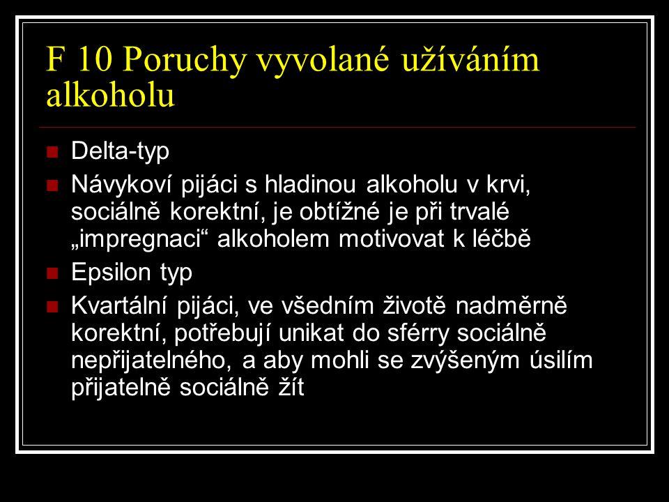 F 10 Poruchy vyvolané užíváním alkoholu