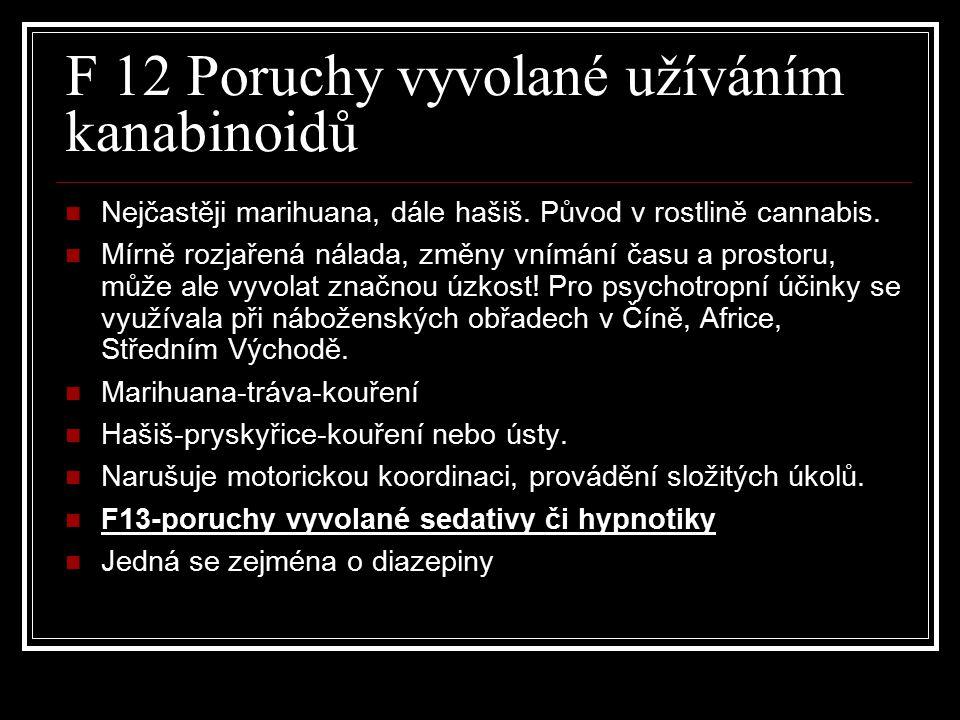 F 12 Poruchy vyvolané užíváním kanabinoidů