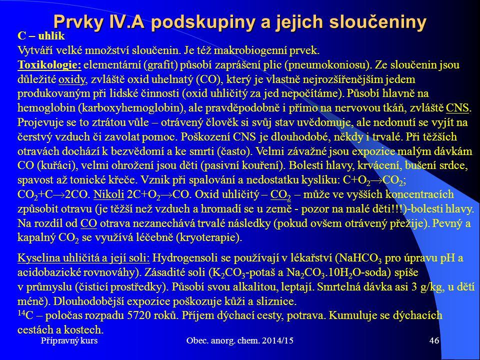 Prvky IV.A podskupiny a jejich sloučeniny