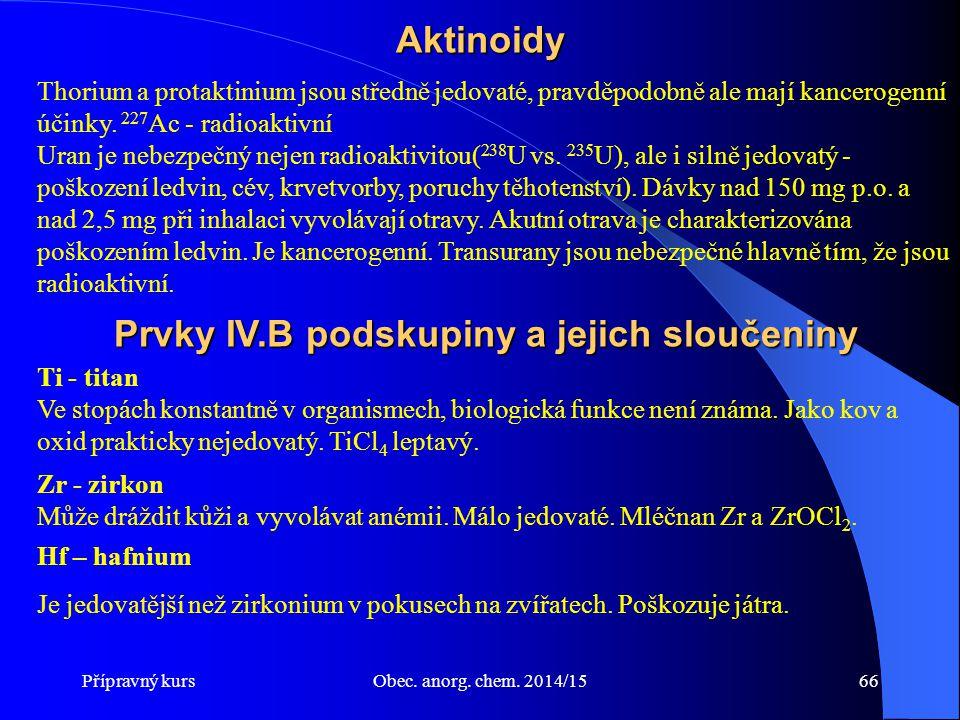 Prvky IV.B podskupiny a jejich sloučeniny