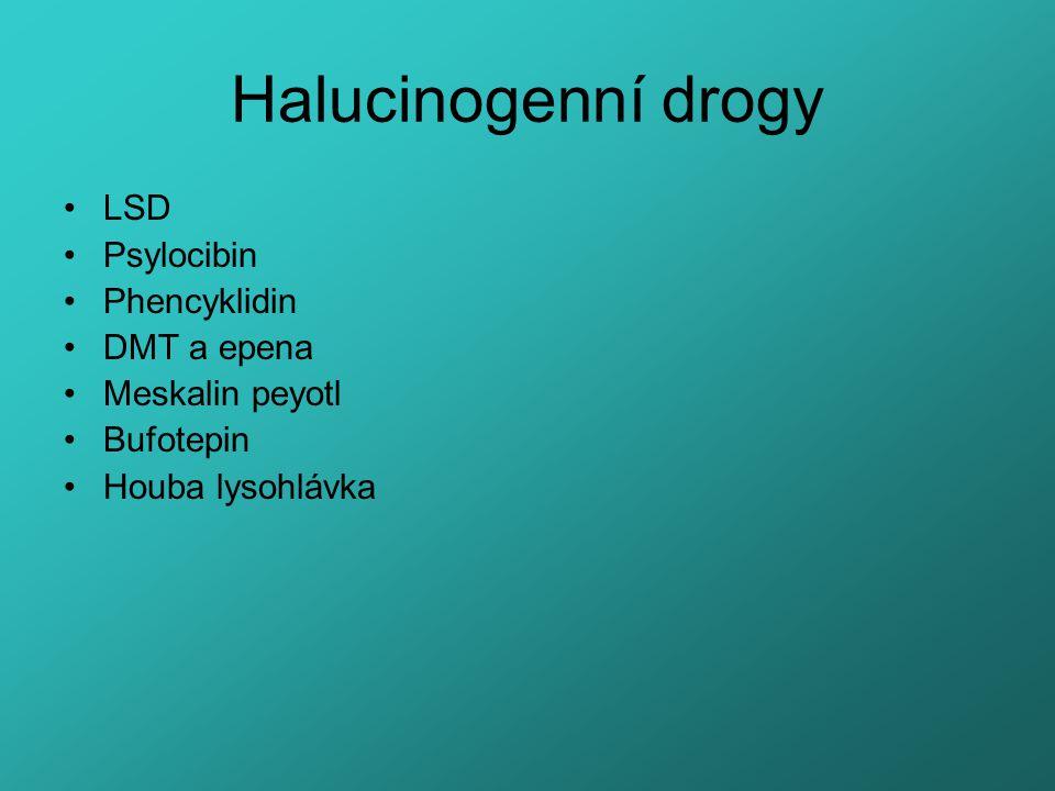 Halucinogenní drogy LSD Psylocibin Phencyklidin DMT a epena