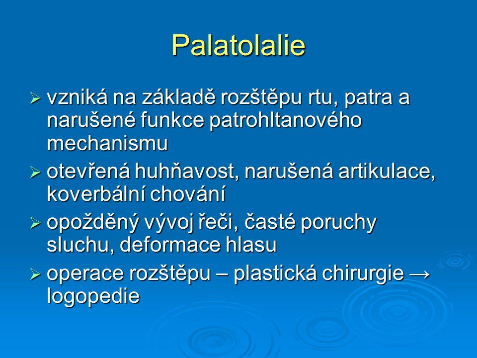Palatolalie vzniká na základě rozštěpu rtu, patra a narušené funkce patrohltanového mechanismu.