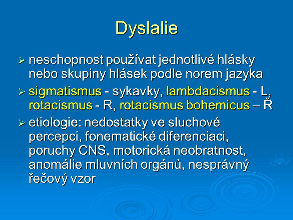 Dyslalie neschopnost používat jednotlivé hlásky nebo skupiny hlásek podle norem jazyka.