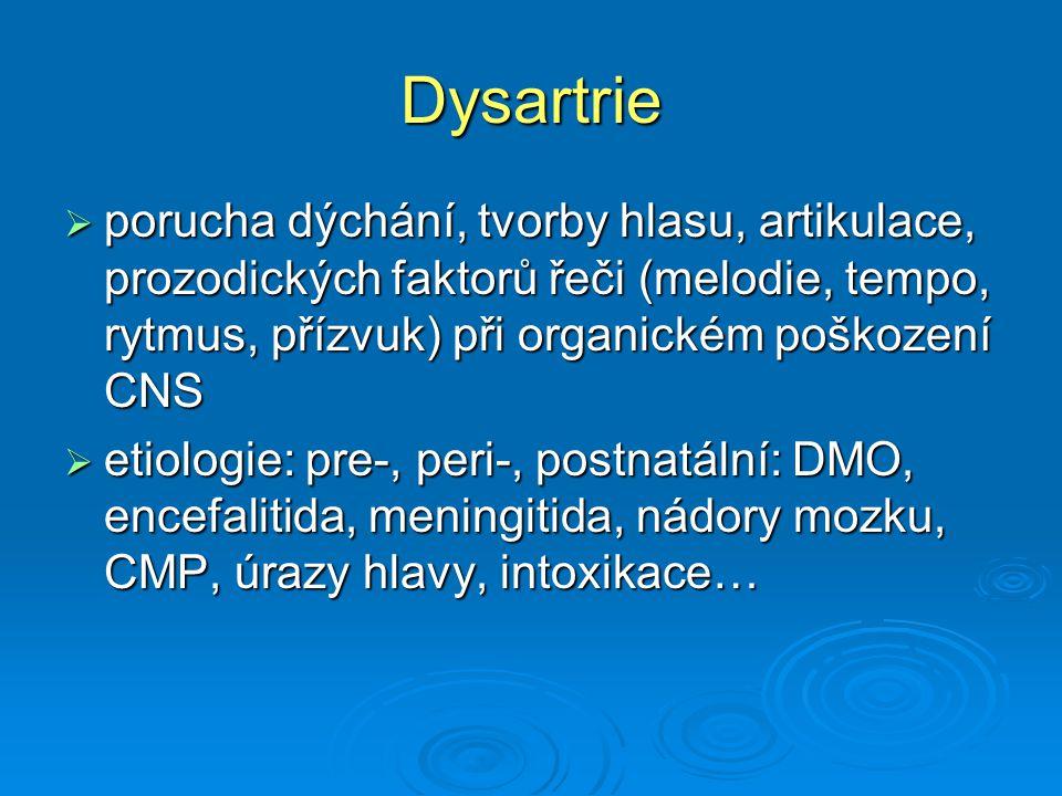 Dysartrie porucha dýchání, tvorby hlasu, artikulace, prozodických faktorů řeči (melodie, tempo, rytmus, přízvuk) při organickém poškození CNS.