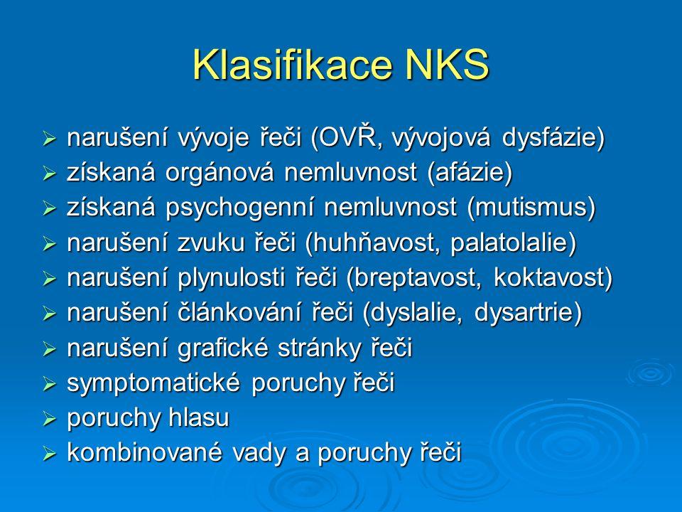 Klasifikace NKS narušení vývoje řeči (OVŘ, vývojová dysfázie)