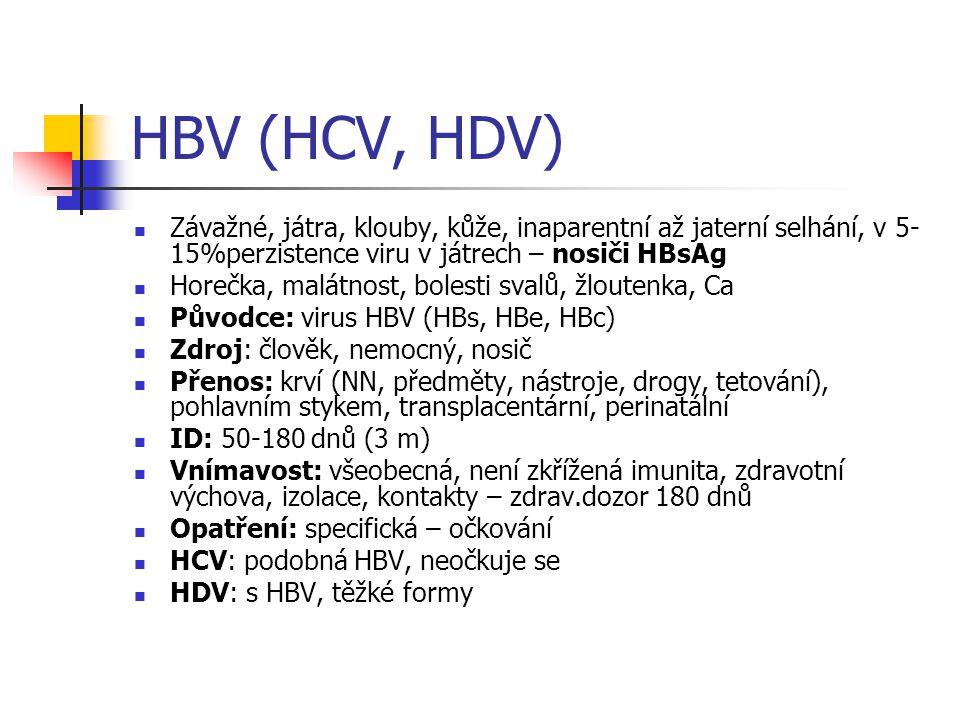 HBV (HCV, HDV) Závažné, játra, klouby, kůže, inaparentní až jaterní selhání, v 5-15%perzistence viru v játrech – nosiči HBsAg.