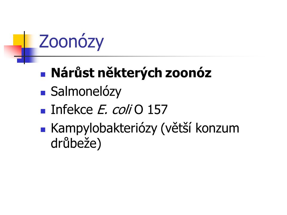 Zoonózy Nárůst některých zoonóz Salmonelózy Infekce E. coli O 157