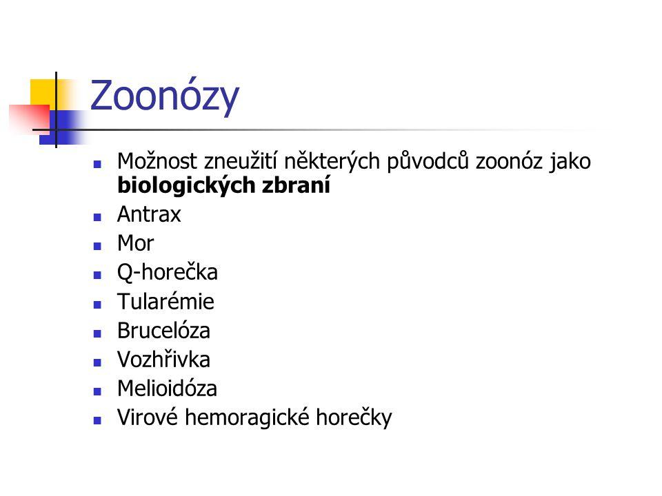 Zoonózy Možnost zneužití některých původců zoonóz jako biologických zbraní. Antrax. Mor. Q-horečka.