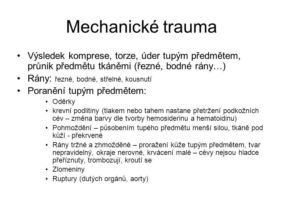Mechanické trauma Výsledek komprese, torze, úder tupým předmětem, průnik předmětu tkáněmi (řezné, bodné rány…)