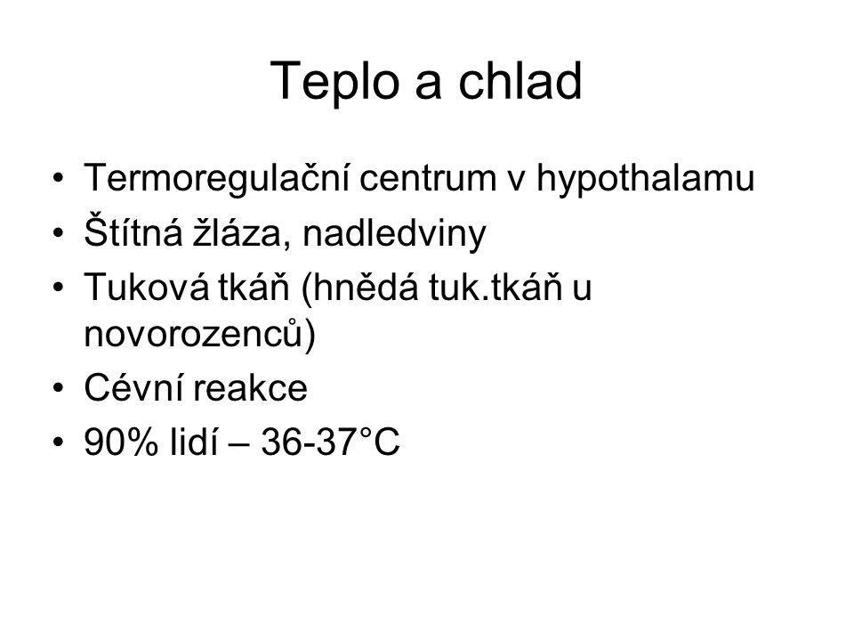 Teplo a chlad Termoregulační centrum v hypothalamu